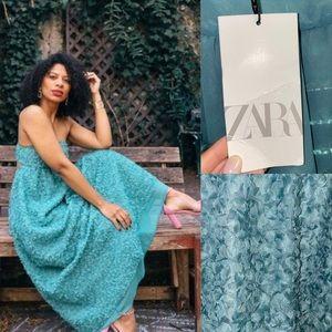 NWT Zara Green Floral Textured Weave Midi Dress L
